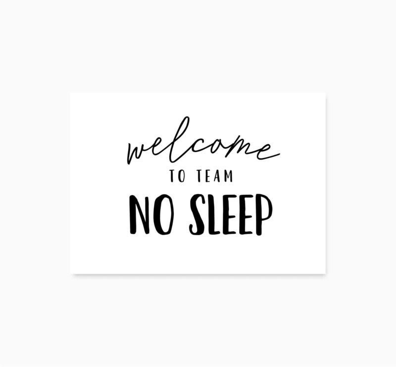 Studio Hoeked Kaart welcome to team no sleep