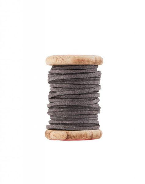 Ribbon leer grijs (5m)