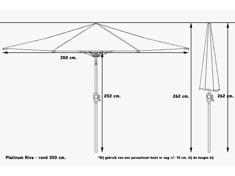 Platinum Riva parasol 350 cm. rond - Light Grey
