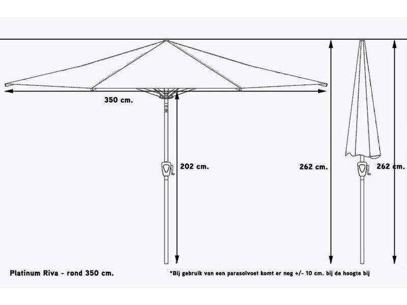 Platinum Riva parasol 350 cm. rond - Black