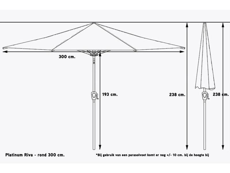 Platinum Riva stokparasol rond 3 meter - Rood