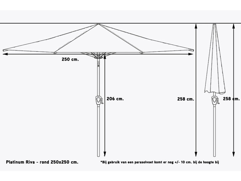 Platinum Riva stokparasol vierkant 2.5x2.5 m. - Antraciet