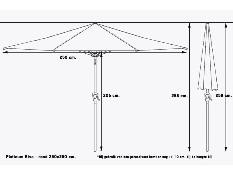 Platinum Riva stokparasol vierkant 2.5x2.5 m. - Wit