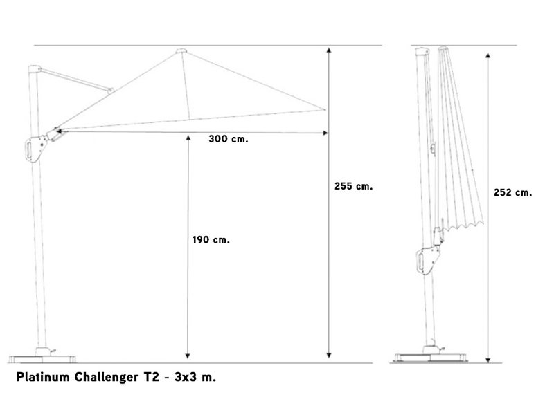 Platinum Challenger parasol T2 premium - 3x3 m. Oak - Faded Black