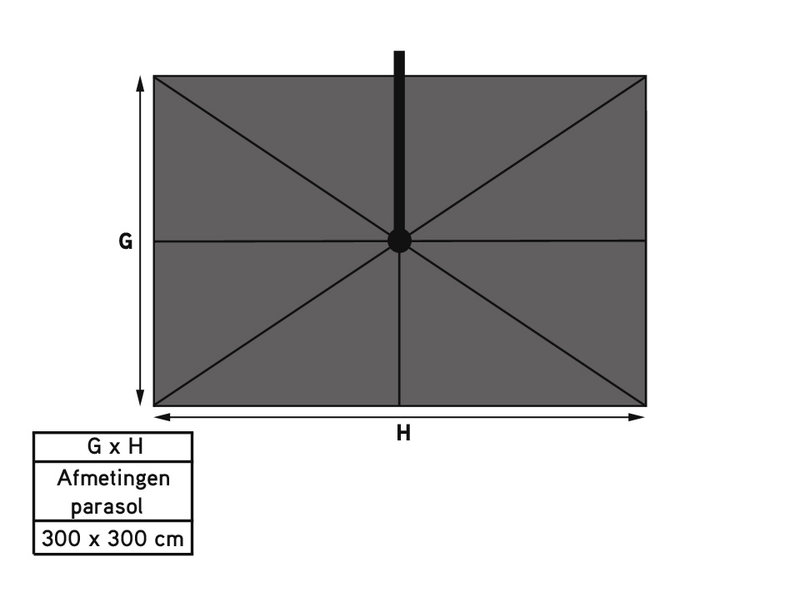 Platinum Challenger T2 parasol - 3x3 m. - Light grey