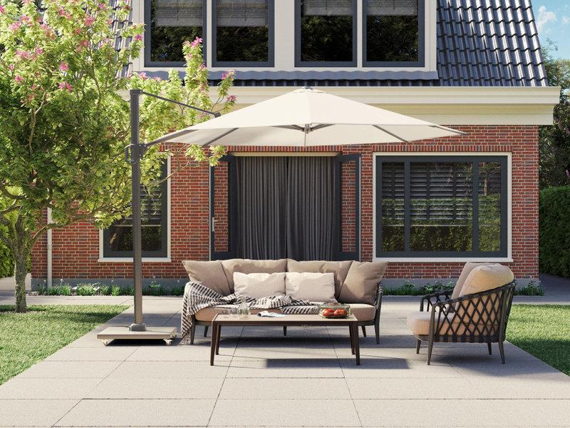 Platinum Challenger vierkante zweefparasol T1 Premium 3,5x3,5 m. - Manhattan