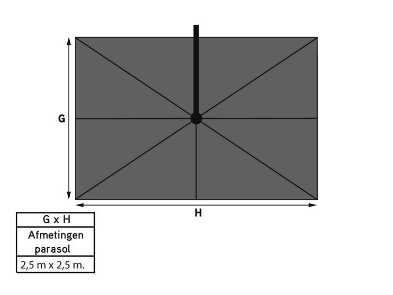 Platinum Platinum Voyager Vierkante Zweefparasol T1 2,5x2,5 m. - Antraciet