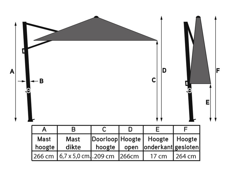Platinum Platinum Voyager Vierkante Zweefparasol T1 parasol 2,5x2,5 m. - Light Grey