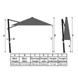 Platinum Platinum Voyager Ronde Zweefparasol T1 parasol 3m. - Antraciet
