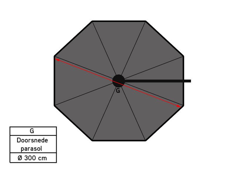 Platinum Voyager Ronde Zweefparasol T1 3m. - Antraciet