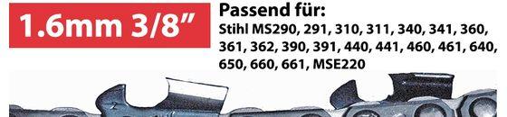 Stihl Sägeketten und Führungsschienen 1.6mm 3/8