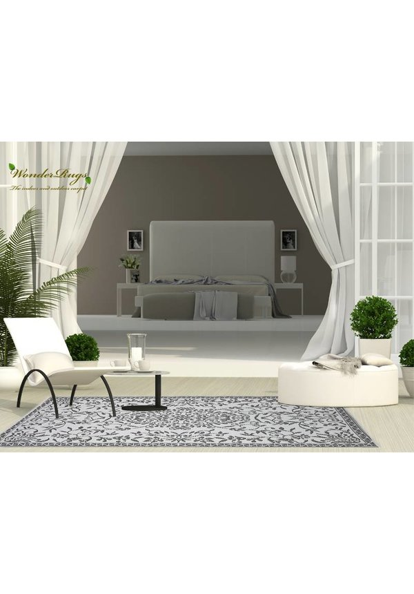 Grijs wit orientaals buitenkleed van kunststof
