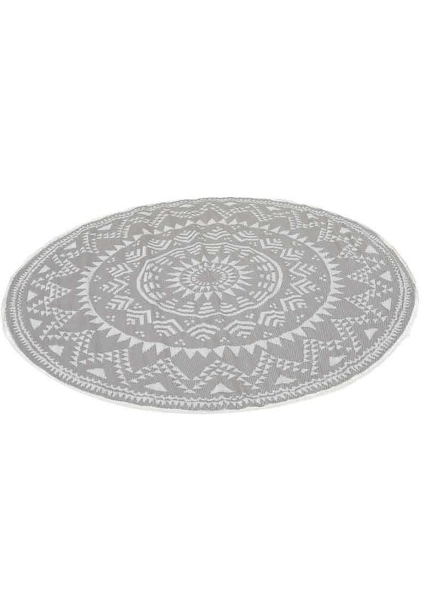 Grijs taupe bohemian rond buitenkleed