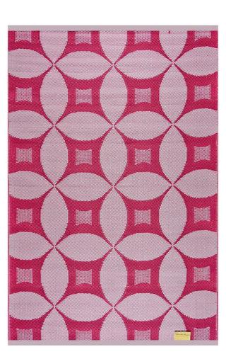 Grafische cirkels roze wit buitenkleed