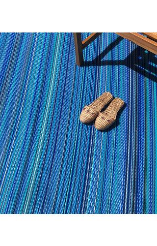 Zeeblauw buitenkleed streep