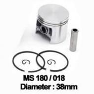 Zuigerset 38mm , pin 8  passend op Stihl 018 en MS180