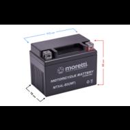 12 volt - 4 AH onderhoudsvrije accu Moretti