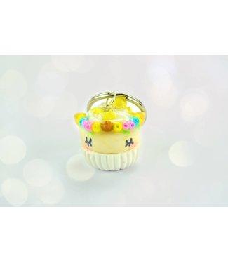 """Cute Clay """"Gelber Einhorn-Cupcake"""" - Schlüsselanhänger"""