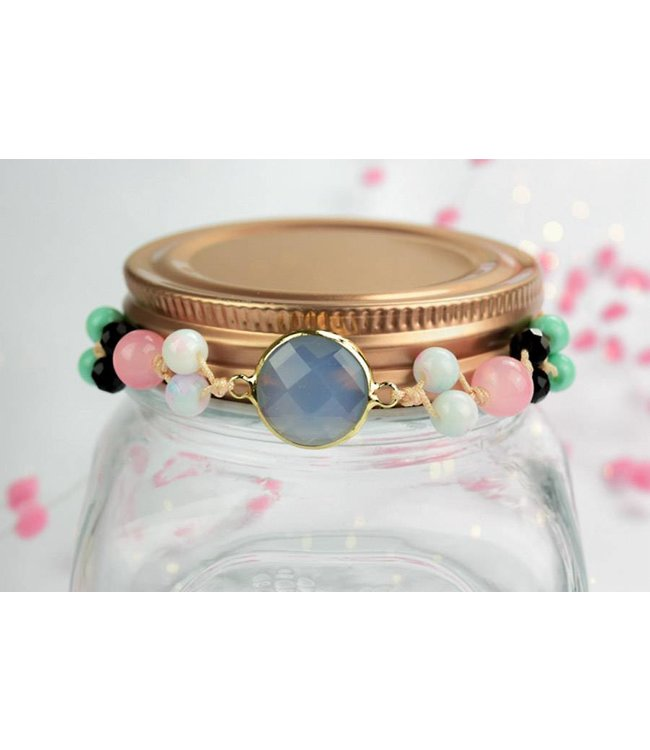 "Cute Clay ""Peach & Gold Blue"" - Armband"