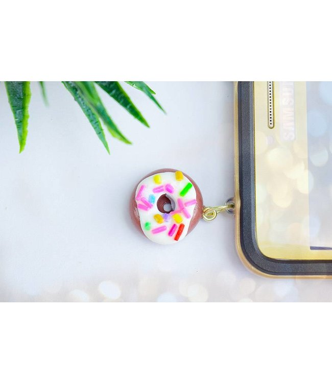 """Cute Clay """"Donut mit Streusel"""" - Handyanhänger"""