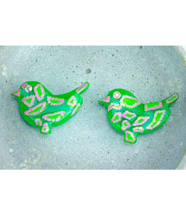 "Cute Clay ""Green Birds"" - 2 Magneten"