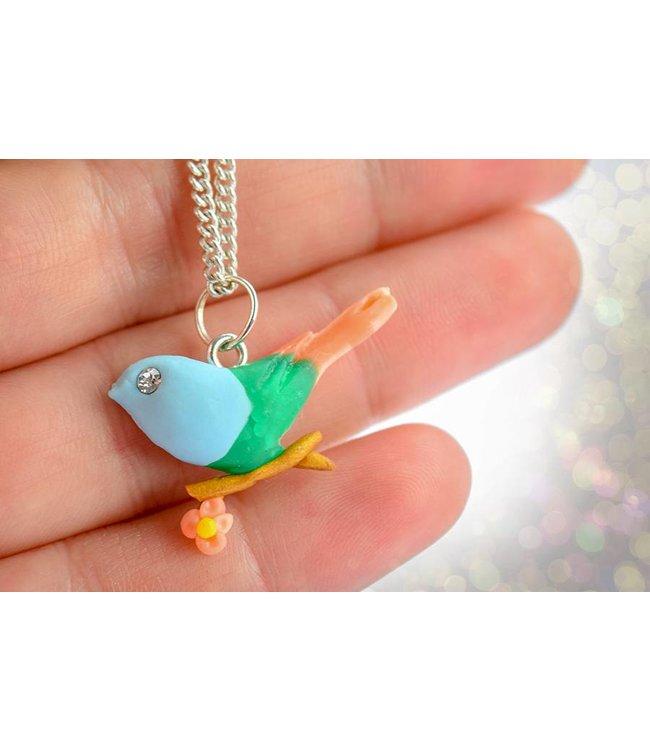 """Cute Clay """"Der Vogel auf dem goldenen Ast"""" - Kette"""