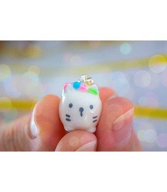 """Cute Clay """"Mini-Katze mit Blumen"""" - Charm/Anhänger"""
