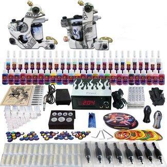 Tattoo set compleet met 2 machines, 40 tatoeage kleuren inkt
