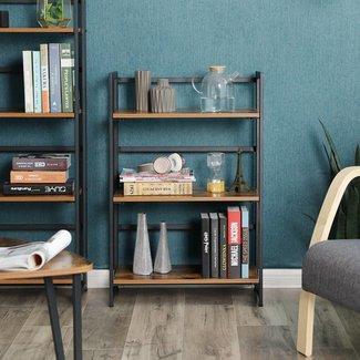 Industriële boekenkast, vintage look, inklapbaar