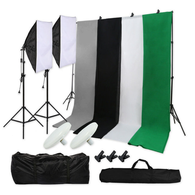 Fotostudio set + Achtergrondsysteem + 4 achtergronddoeken + Softboxen met Daglichtlampen