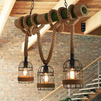 3 armige industriële bamboe hanglamp met henneptouw