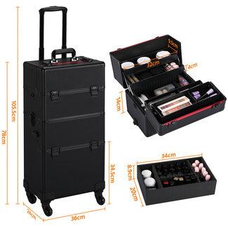 Kapperskoffer,  Trolley,  Visagistenkoffer, Cosmetica-koffer, 3-in-1