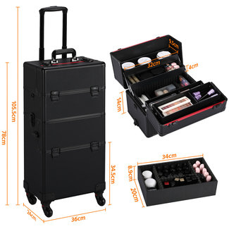 Kapperskoffer, Visagistenkoffer, Cosmetica-koffer, 3-in-1