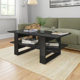 vidaXL Salontafel 110x55x42 cm spaanplaat hoogglans zwart