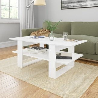 vidaXL Salontafel 110x55x42 cm spaanplaat hoogglans wit