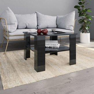 vidaXL Salontafel 60x60x42 cm spaanplaat hoogglans zwart