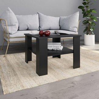vidaXL Salontafel 60x60x42 cm spaanplaat zwart