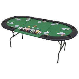 vidaXL Pokertafel voor 9 spelers ovaal 3-voudig inklapbaar groen