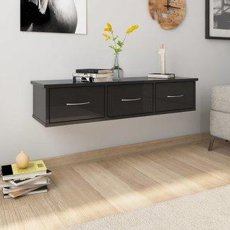 vidaXL Wandschap met lades 90x26x18,5 cm spaanplaat hoogglans zwart