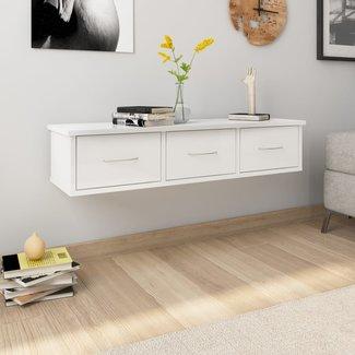 vidaXL Wandschap met lades 90x26x18,5 cm spaanplaat hoogglans wit