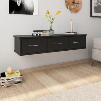 vidaXL Wandschap met lades 90x26x18,5 cm spaanplaat zwart