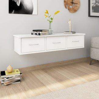 vidaXL Wandschap met lades 90x26x18,5 cm spaanplaat wit