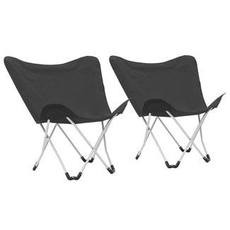 vidaXL Vlinderstoelen inklapbaar zwart 2 st