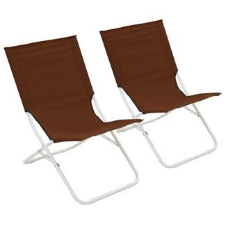 vidaXL Strandstoelen inklapbaar 2 st bruin