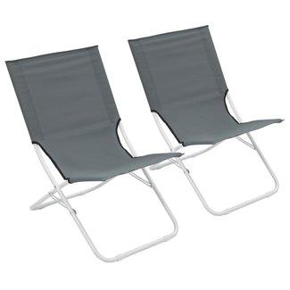 vidaXL Strandstoelen 2 st inklapbaar grijs