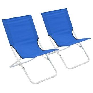 vidaXL Strandstoelen 2 st inklapbaar blauw