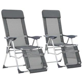 vidaXL Campingstoelen met voetensteun inklapbaar aluminium grijs 2 st