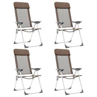vidaXL Campingstoelen 4 st inklapbaar aluminium bruin