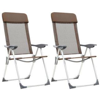 vidaXL Campingstoelen 2 st inklapbaar aluminium bruin