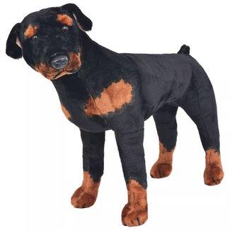 vidaXL Speelgoedhond rottweiler staand XXL pluche zwart en bruin